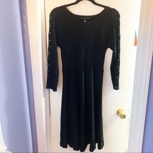 SPENSE BLACK RAYON BLEND FIT & FLARE DRESS